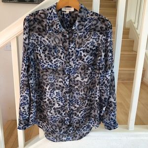 Vince Camuto blue gray leopard sheer blouse